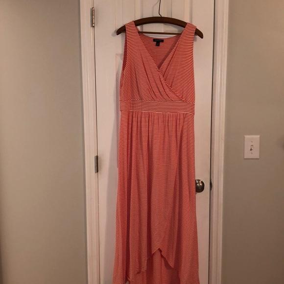 Lands' End Dresses & Skirts - Lands End coral striped maxi dress in Large